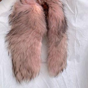 Vintage Fox Pink Brown Fur Scarf Attach or Detach!